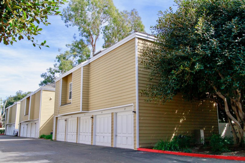 South Coast Springs Santa Ana California box shaped homes with horizontal line design with short door model