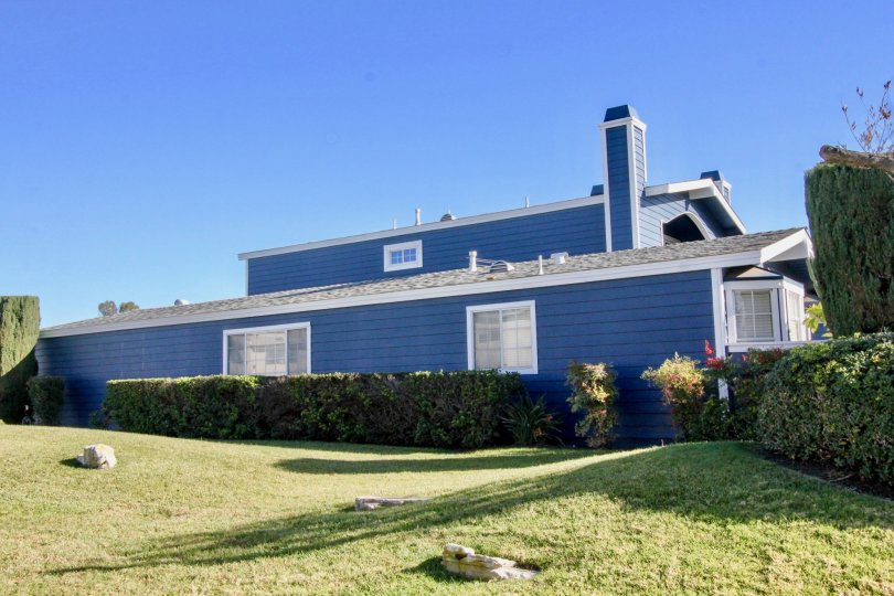 THE BLUE COLOR HOUSE IN THE BELL COVE WITH THE LAWN, PLANTS