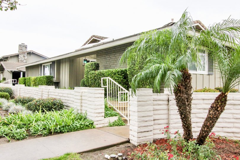 This image represents the front view of the house with the beautiful garden with trees plants and the lawn which is located in the city of Tustin