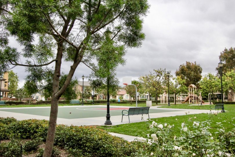 Park in the Camden Place community of Tustin, California complete with basketball court and playground equipment
