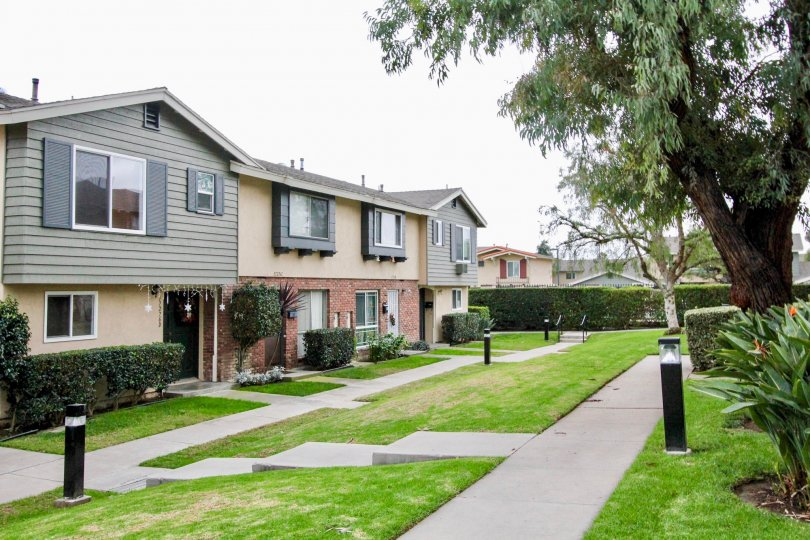 Influential Square located within Tustin, California offers well maintained landscaping and open well-lit walking space perfect for walks outside.