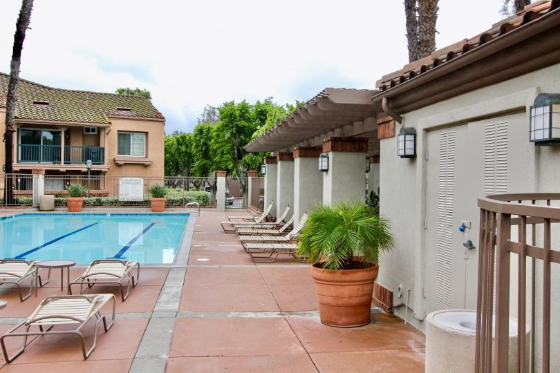 The swimming pool area in the community of Mandevilla in Tustin, California