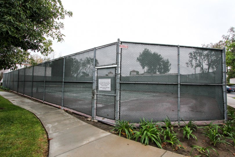 Community tennis court with high meshed wire fence for safety with adjacent sidewalks and green space at Quail Meadows