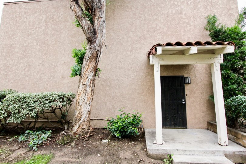 A private entrance to a two story residence at Rancho San Juan with tall tree and covered patio