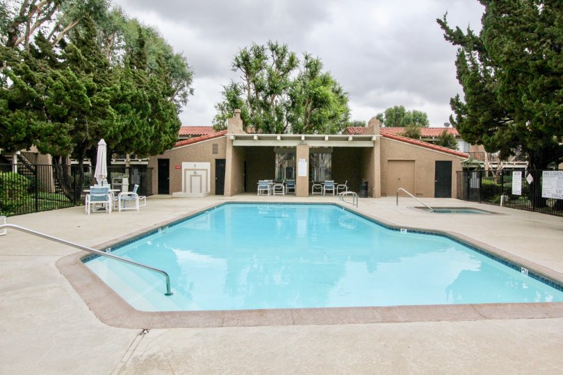 the rancho san juan is a peaceful swimming pool of the tustin city in ca