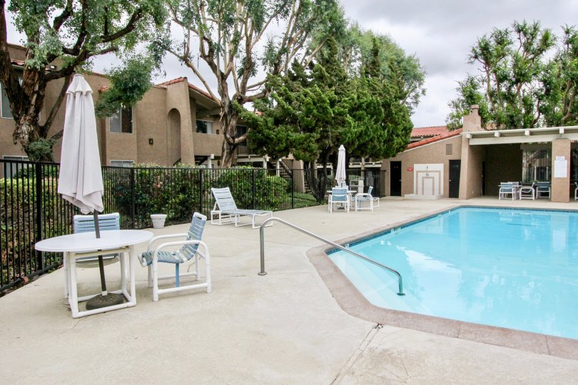 THE APARTMENT IN THE RANCHO SAN JUAN WITH THE TABLES, SWIMMING POOL, PLANTS, TREES