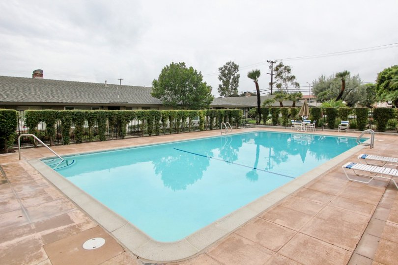 Pool area in Treehaven in Tustin, California. Large pool for residents with lounge chairs and tables available.