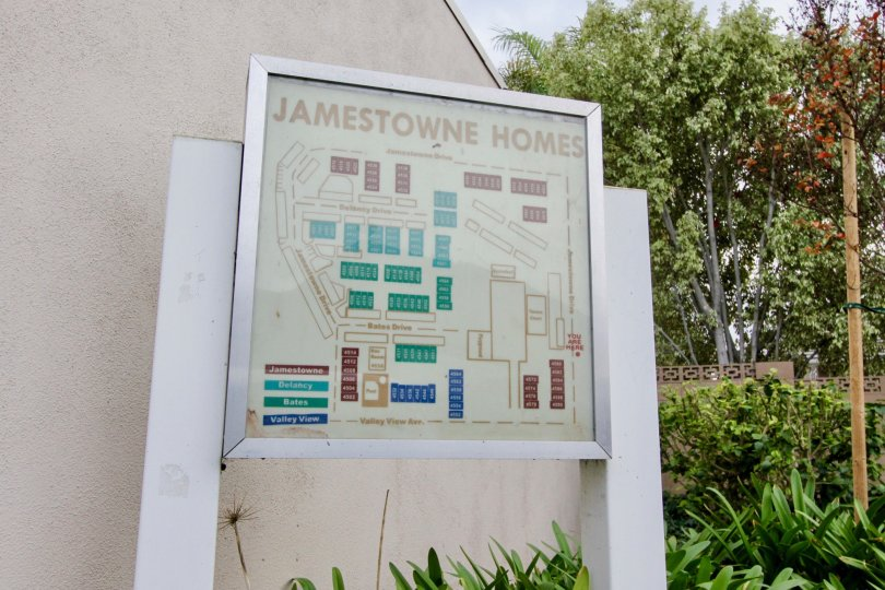 Map for the Jamestowne Homes Homes community with trees and other plants.