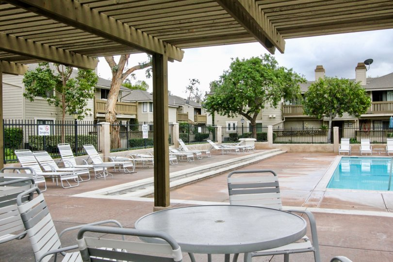 Swimming pool are present with seating chair for relaxing and with dinning tables and trees in Kellogg Terrace