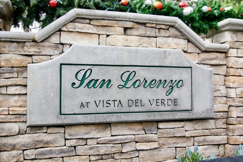 Fancy sign to San Lorenzo in Yorba Linda, California