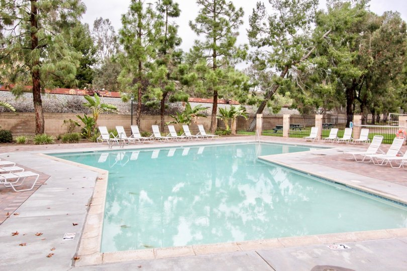 A cool day in the Yorba Linda Villages with a swimming pool.