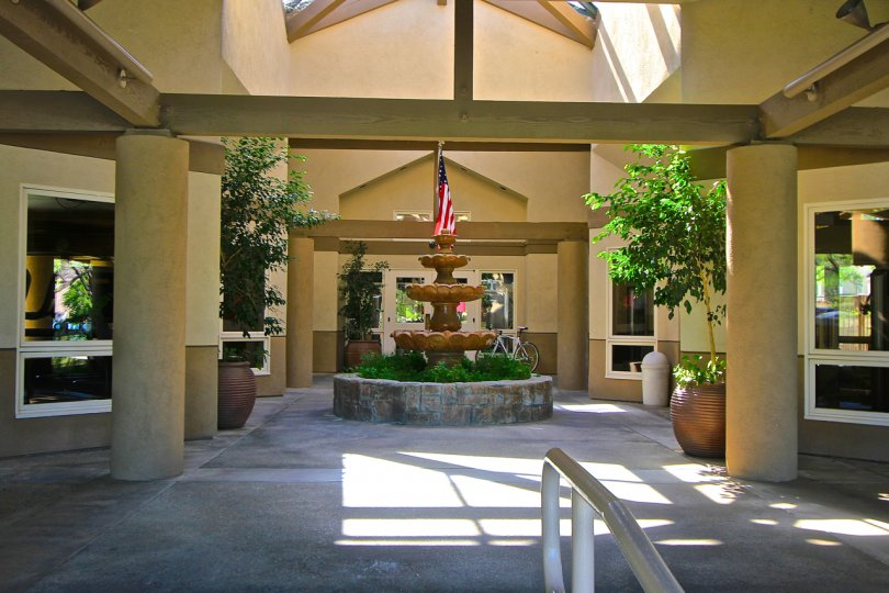 Three-tier water fountain in foyer of Retreat at Bear Creek in Murietta, CA.