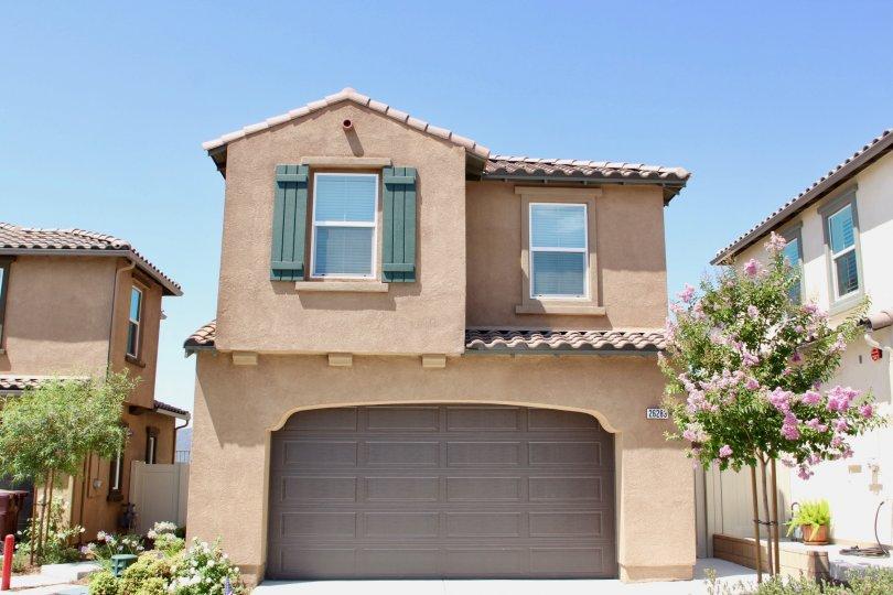 A scene showing a family home in Murietta California