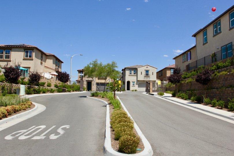 Well tarred road to the community of Seneca, murrieta, California