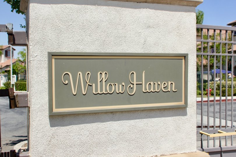 Entrance signage of Willow Haven community, Murrieta, Callifornia