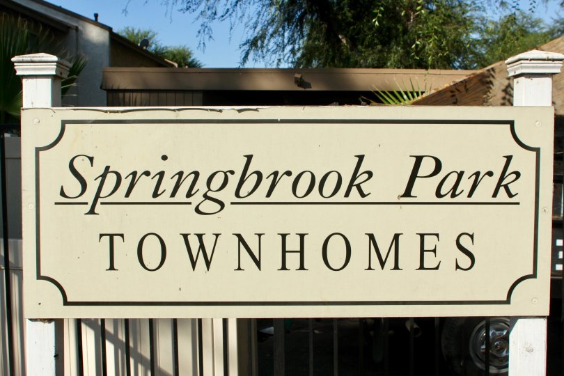 The sign for the Springbrook Park Townhomes located in Riverside, California