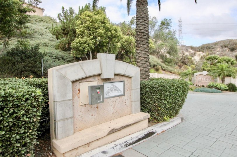Aldea call box and landscaping Carlsbad California