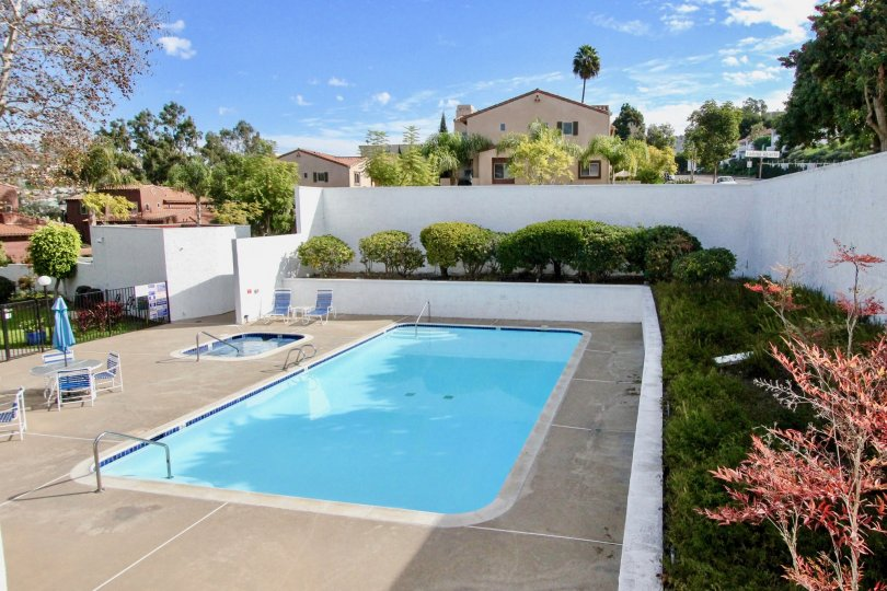 Sunny sky with clouds and a pool in the Alta Verde Community in Carlsbad, CA.