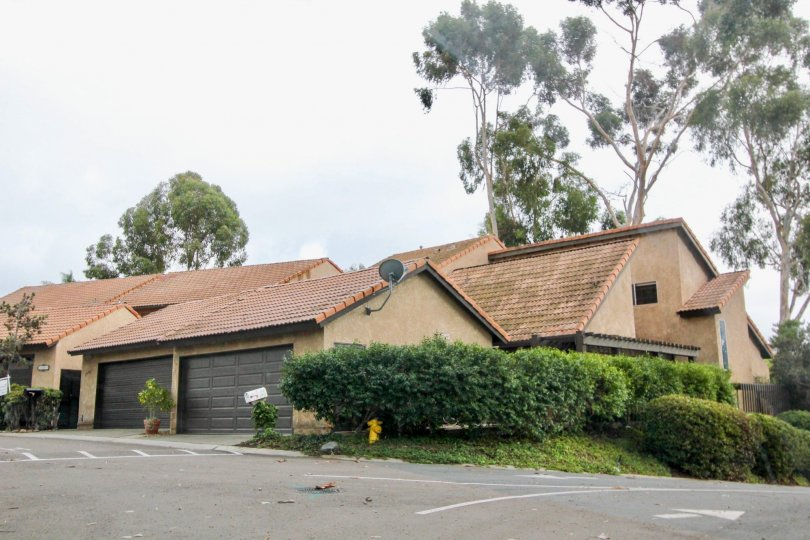 A couple of brown garages sit up against a condominium inside Buena Woods in Carlsbad CA