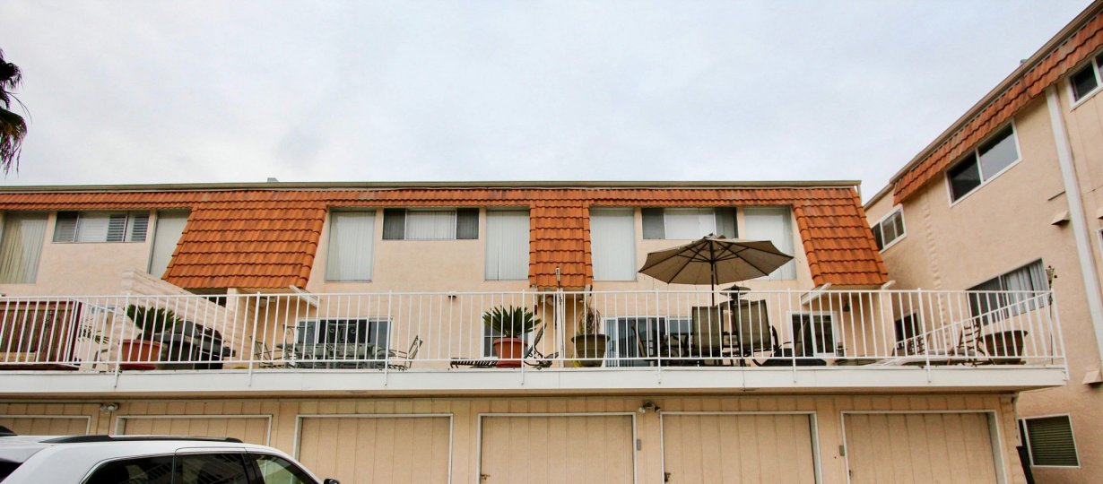 Spacious 2nd story patio space available in the Hacienda community located in Carlsbad, California.