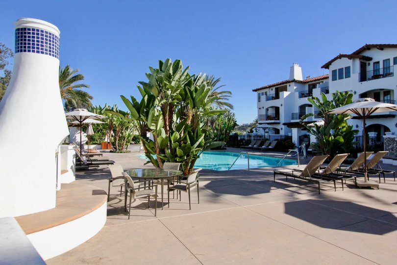 A sunny day by the pool at La Costa Resort Villas in Carlsbad, CA.