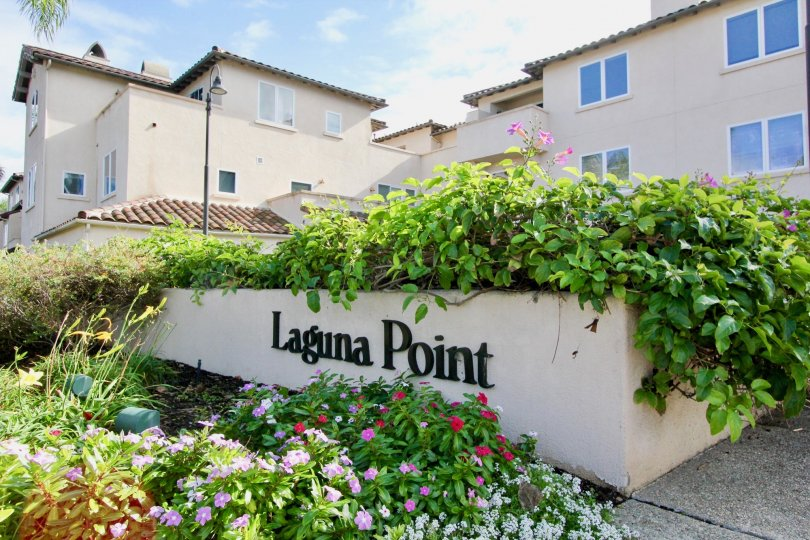 THE HOUSE IN THE LAGUNA POINT WITH THE LAGUNA POINT WALL, FLOWER PLANTS, OTHER PLANTS