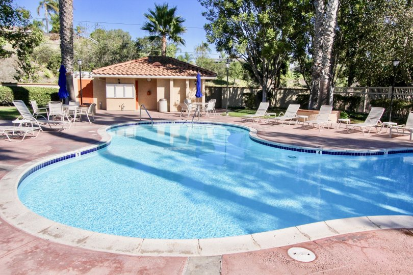A relaxing pool setting at Monarch Villas in Carlsbad, California