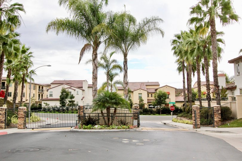 A two driveway entrance leading to the Poinsettia Heights in Carlsbad CA