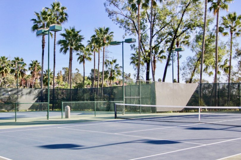 A delux tennis court with high lighting and nets inside Sea Point Tennis Club at Carlsbad CA