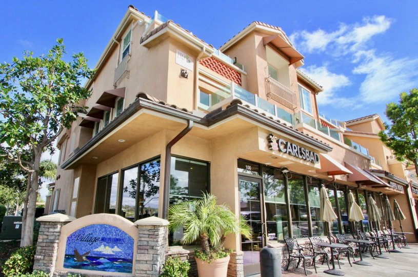 Relaxing shopping complex in Village by the Sea in Carlsbad, California