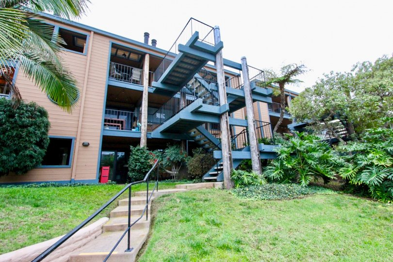 Black metal staircases lead to Windsong Cove apartments.