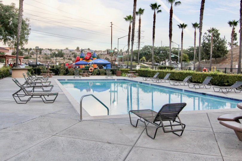 Pool at Antigua in Chula Vista, Ca with patio chairs and view of palm trees.