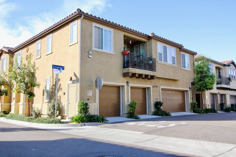 A modern two story condominium building located in Chula Vista CA at Avalon
