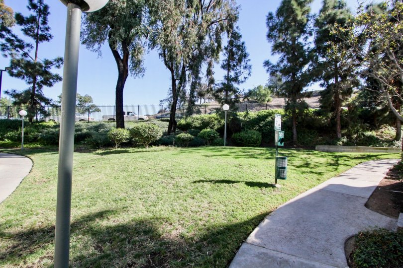 Walking path at Bentwood Arms with pet clean-up station and fence in the distance.