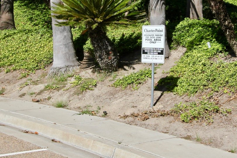 Charter Point Chula Vista California Pool Area Only Parking Sign