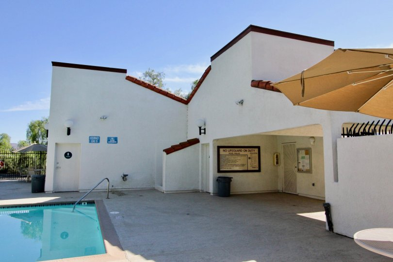 The pool house building and pool side at Charter point in Chula Vista, Ca.