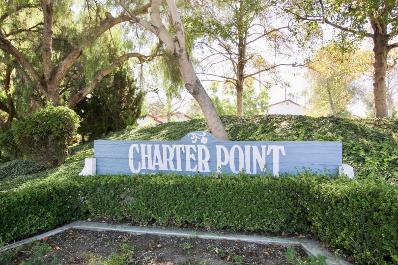 A sign of the community name in Charter Point neighborhood