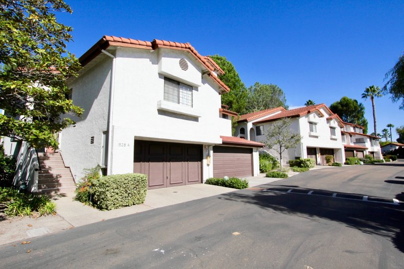 A picture of the Charter Point neighborhood in Chula Vista. Two houses are depicted, both with two garages.
