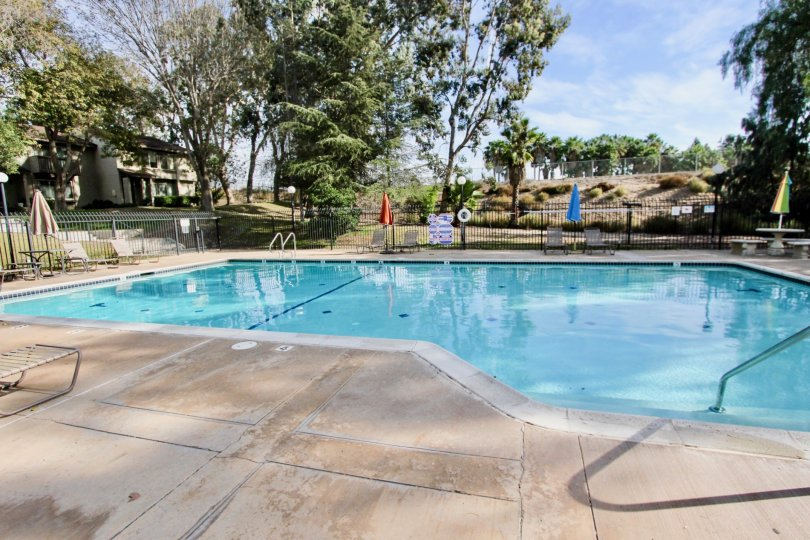 Asymmetrical swimming pool at Encore Bonita community in Chula Vista, CA. Partially shaded patio with lounge chairs and closed umbrellas.