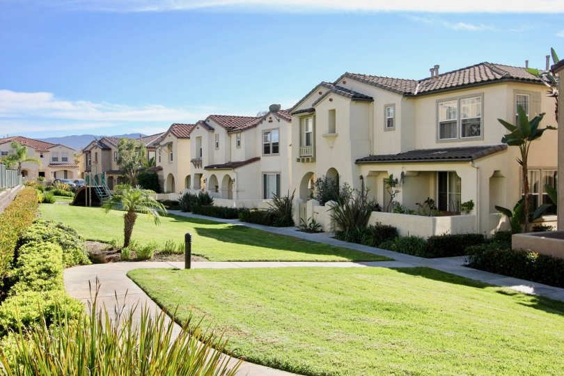 symmetrical architectural housing with plenty of greenery in Gold Rush of chula vista