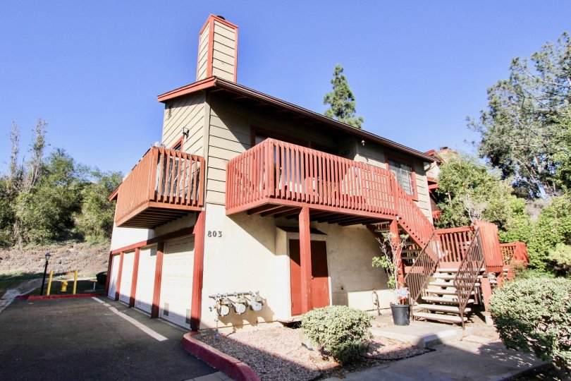 Blue sky, Varanda and starcase of Hilltop Village, Chula Vista, California