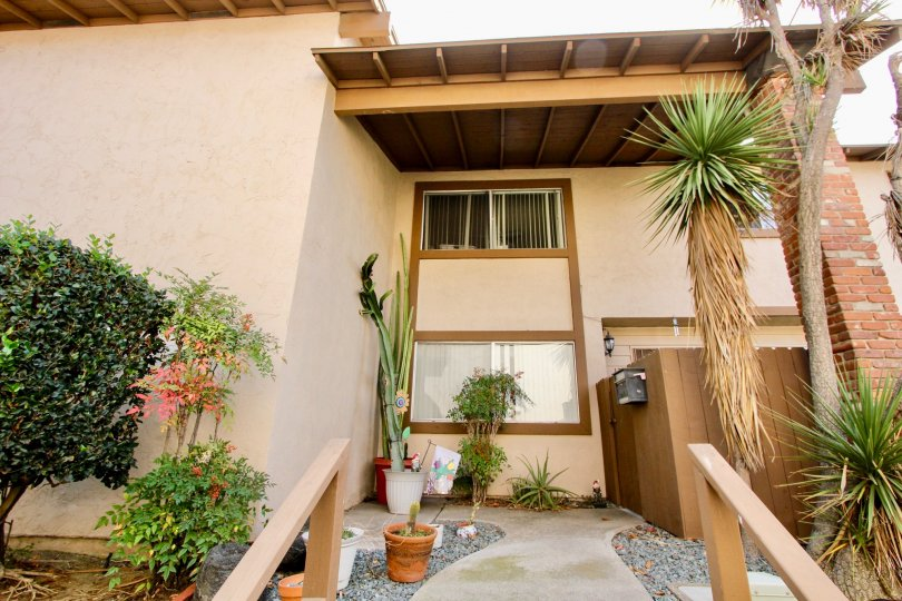 A glimpse at a small patio area in the Melrose Place Townhomes Community in Chula Vista, CA