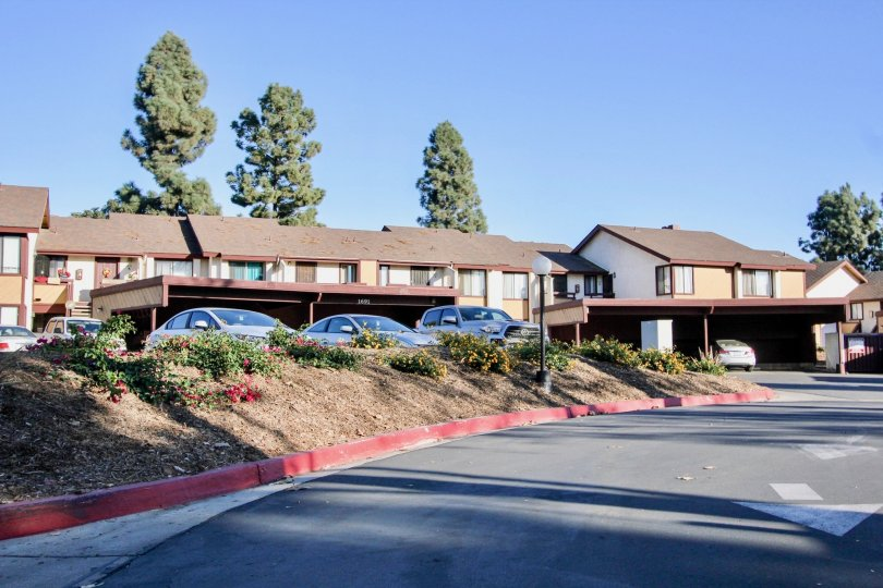 A sunny day with carparking of Melrose Villas with ample space in Chula Vista