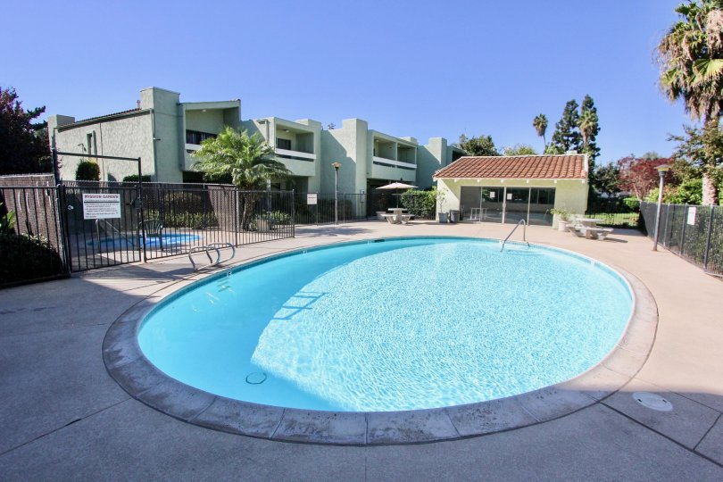 Sunny day, poolside in front of Mission Gardens Community, Chula Vista, CA