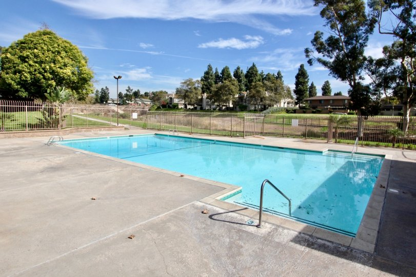 THE SWIMMING POOL IN THE RANCHO RIOS WITH THE PARK PLACE, FLAT, TREES