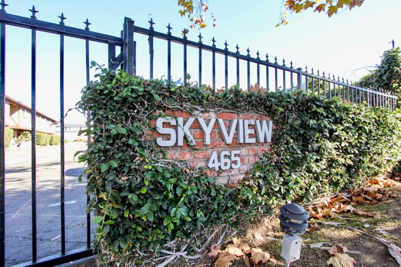 The gate of Skyview 465 with exterior lights at night time