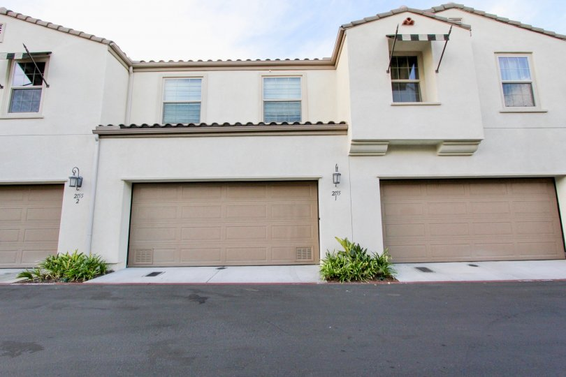 Front entrance garage door in front of Summit at Eastlake community, Chula Vista, CA
