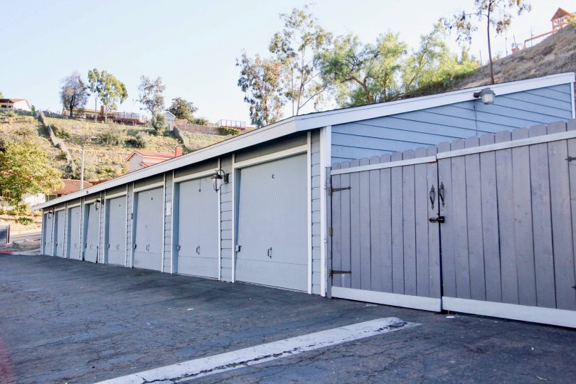 Garages in a row at Telegraph Canyon Terrace in Chula Vista, Ca.