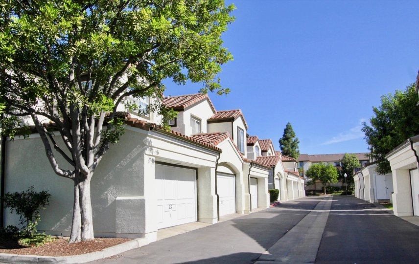 long straight road with houses on both sides, clean and clear on a quiet day in Tiara of chula vista, CA