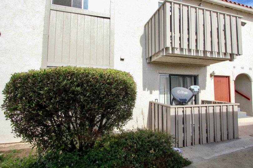Back of apartments with balconies at Villa De Anita in Chula Vista, Ca.